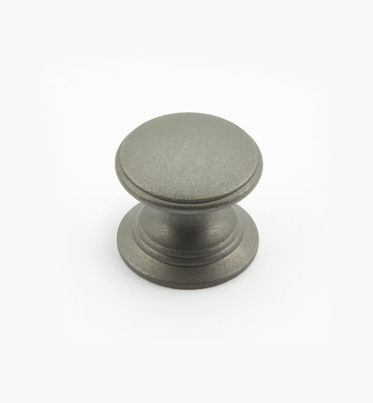 02W1458 - Bouton rond de 1 po x 7/8 po, série Étain, laiton