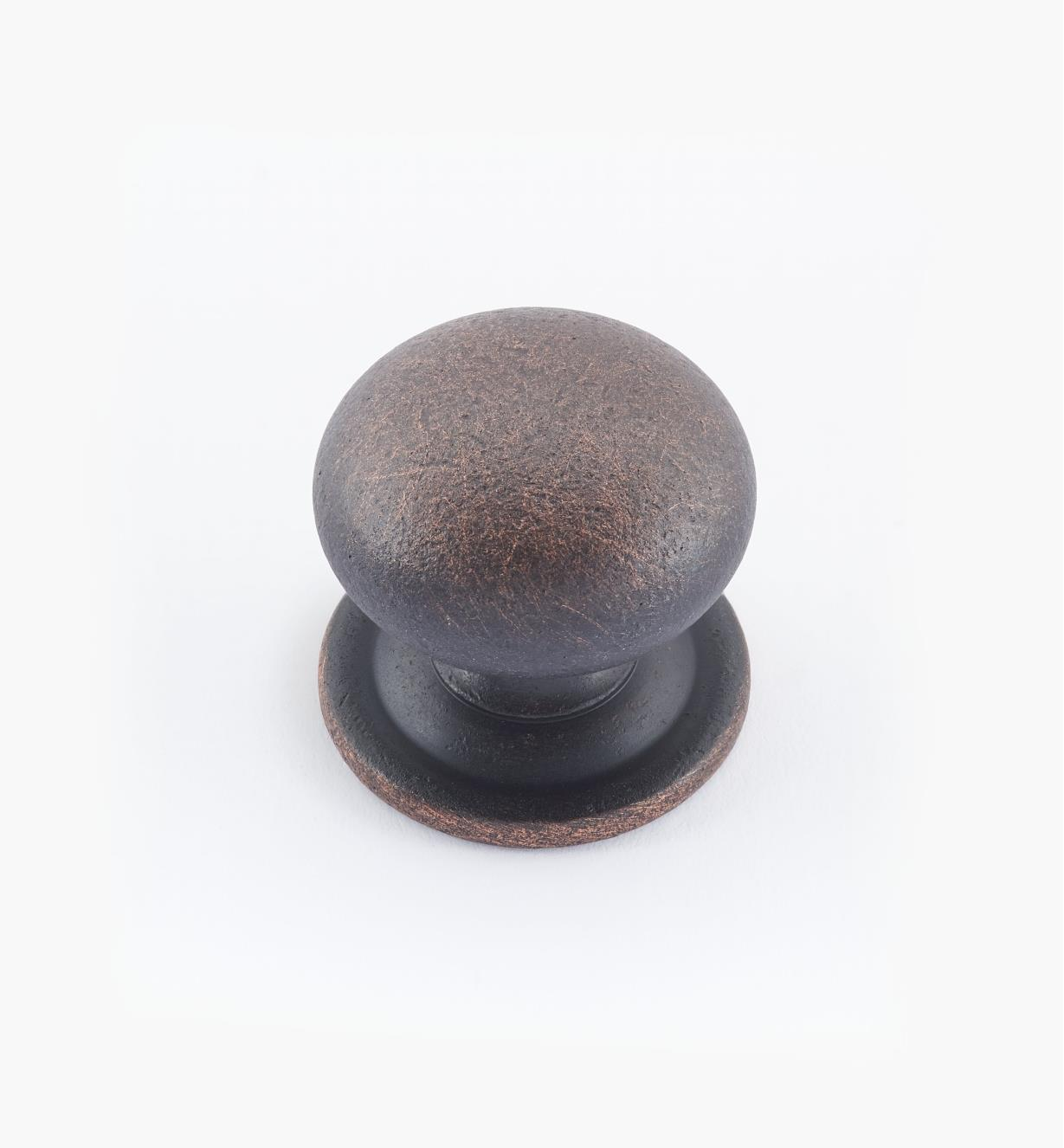 "02W1551 - 1"" × 7/8"" Round Brass Knob, Weathered Bronze"
