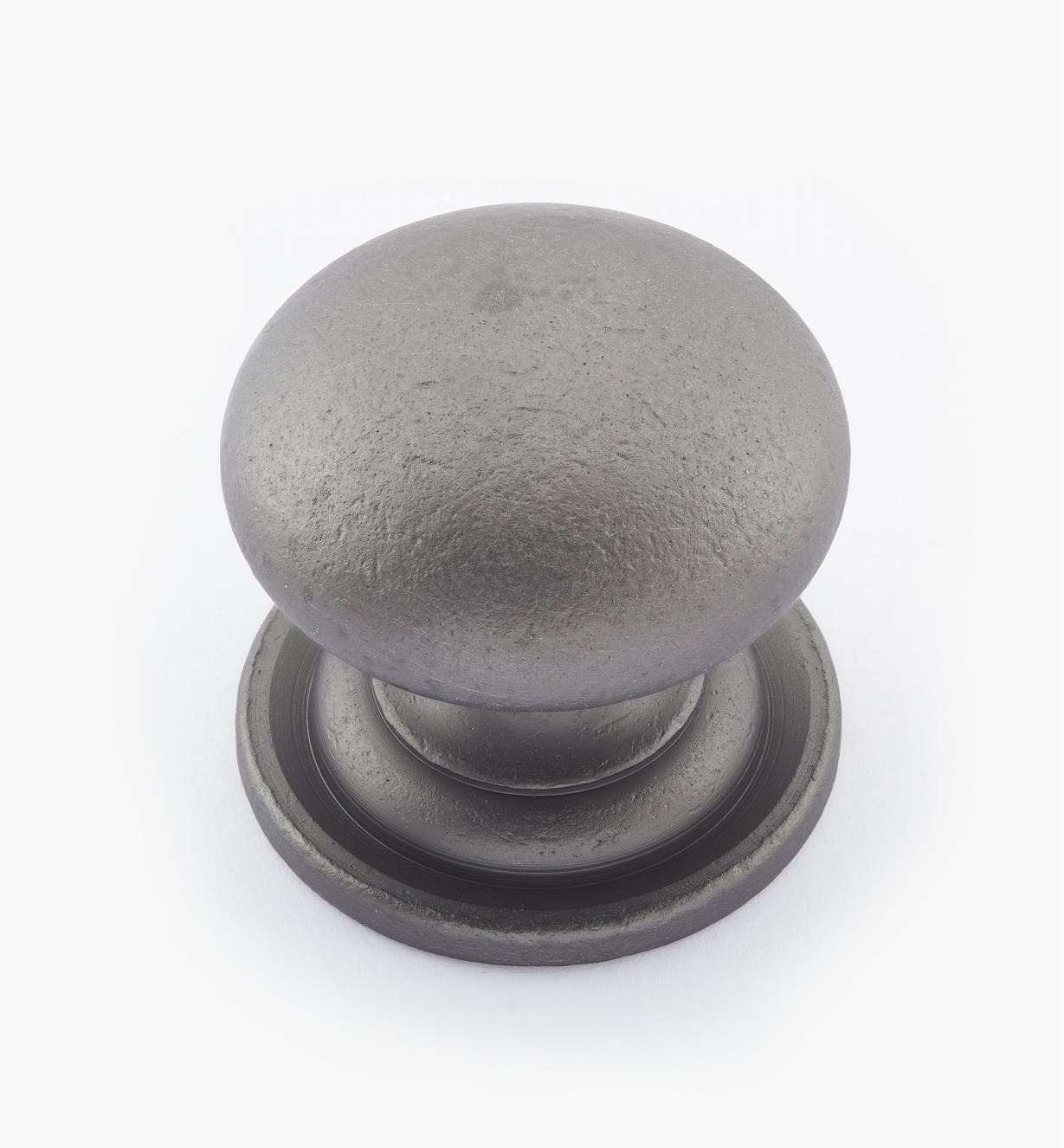 "02W1563 - 1 3/8"" × 1 1/4"" Round Brass Knob, Pewter"
