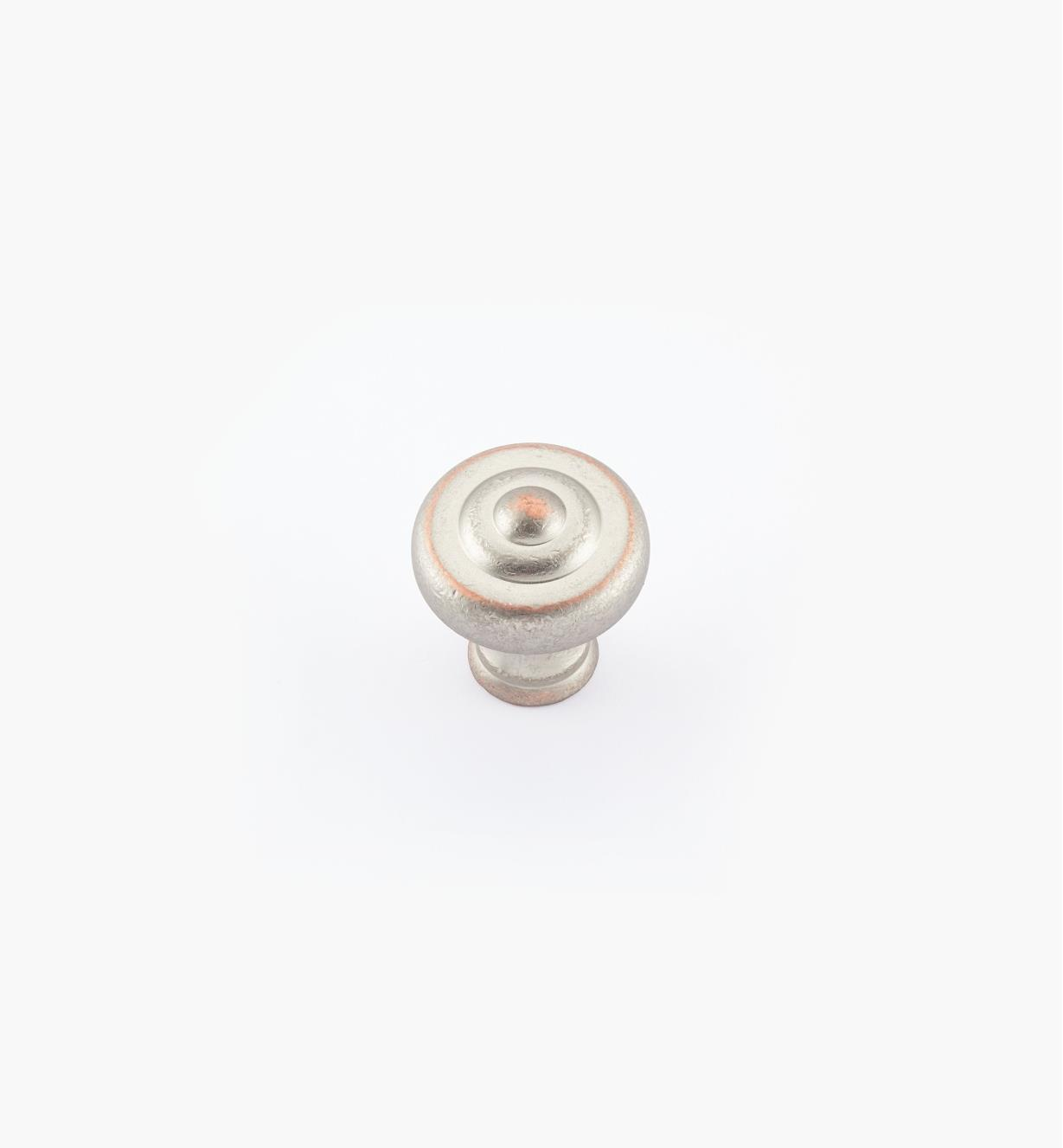 "02W1842 - 1 1/4"" x 1 3/8"" Weathered Nickel-Copper Ring Knob"