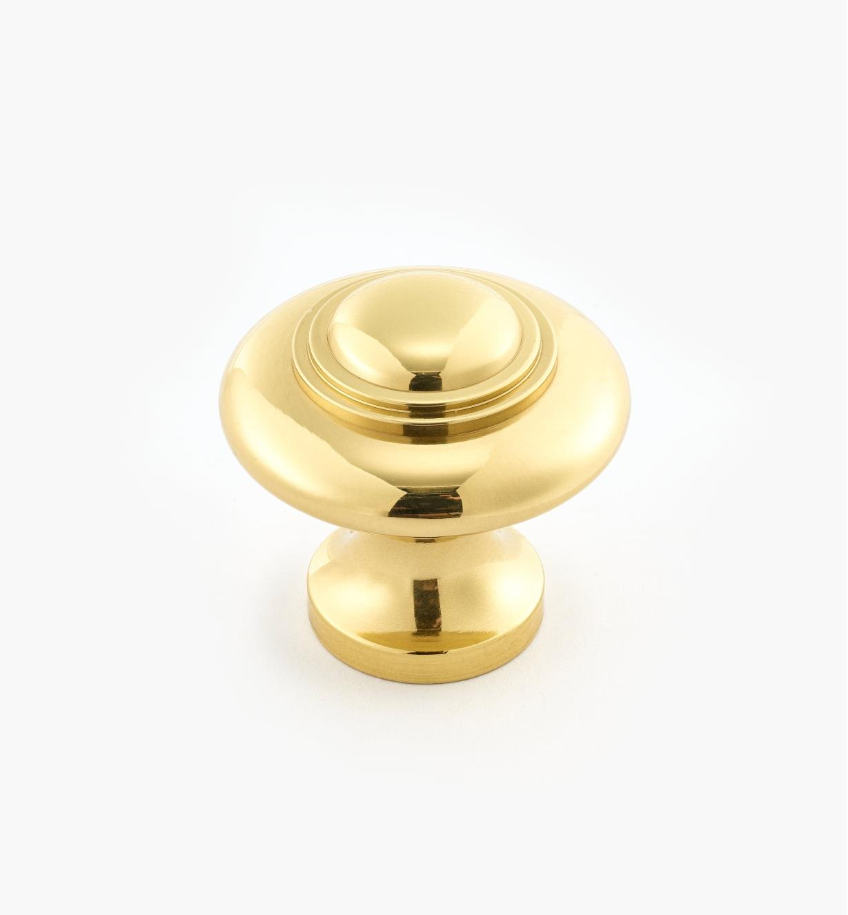 "02W2643 - 1 5/16"" x 1 1/4"" Cast Brass Ring Knob, Polished Brass"