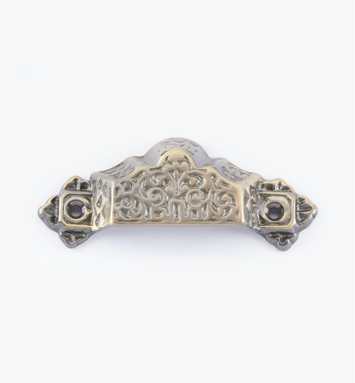 02W2654 - Poignée victorienne de 4po, fini laiton antique