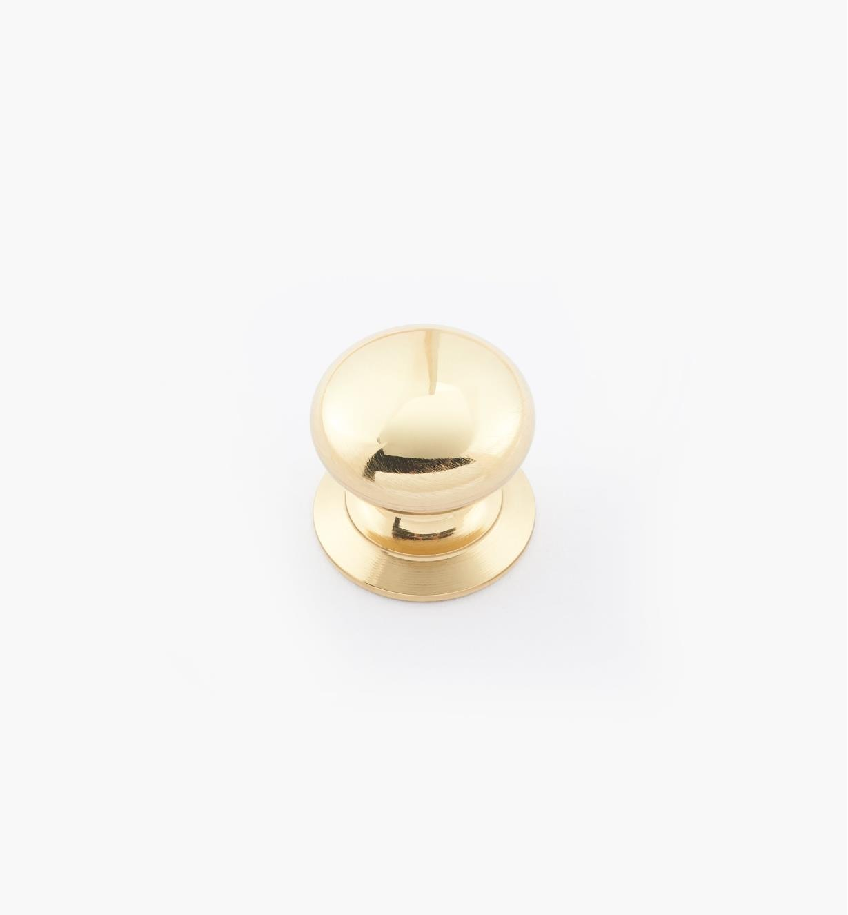 "02W2706 - 5/8"" × 5/8"" Round Brass Knob, Polished Brass"