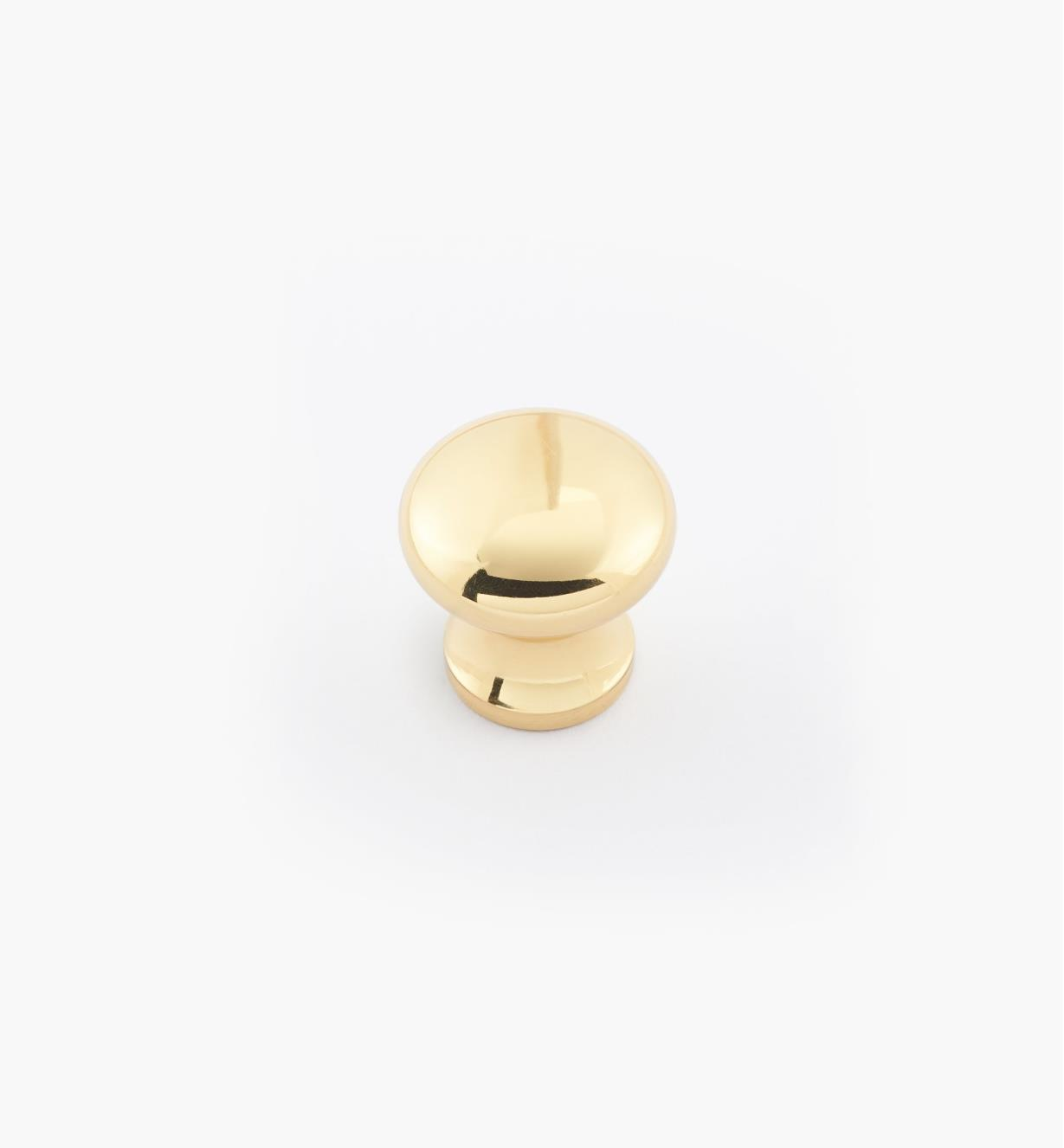 "02W2708 - 5/8"" × 5/8"" Round Brass Knob, Polished Brass"