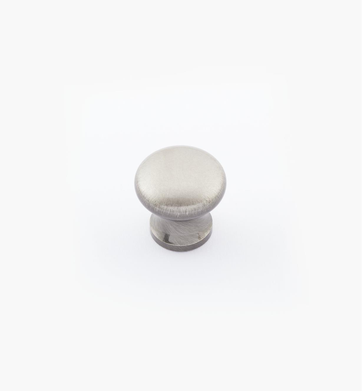 "02W2728 - 5/8"" × 5/8"" Round Brass Knob, Antique Nickel"