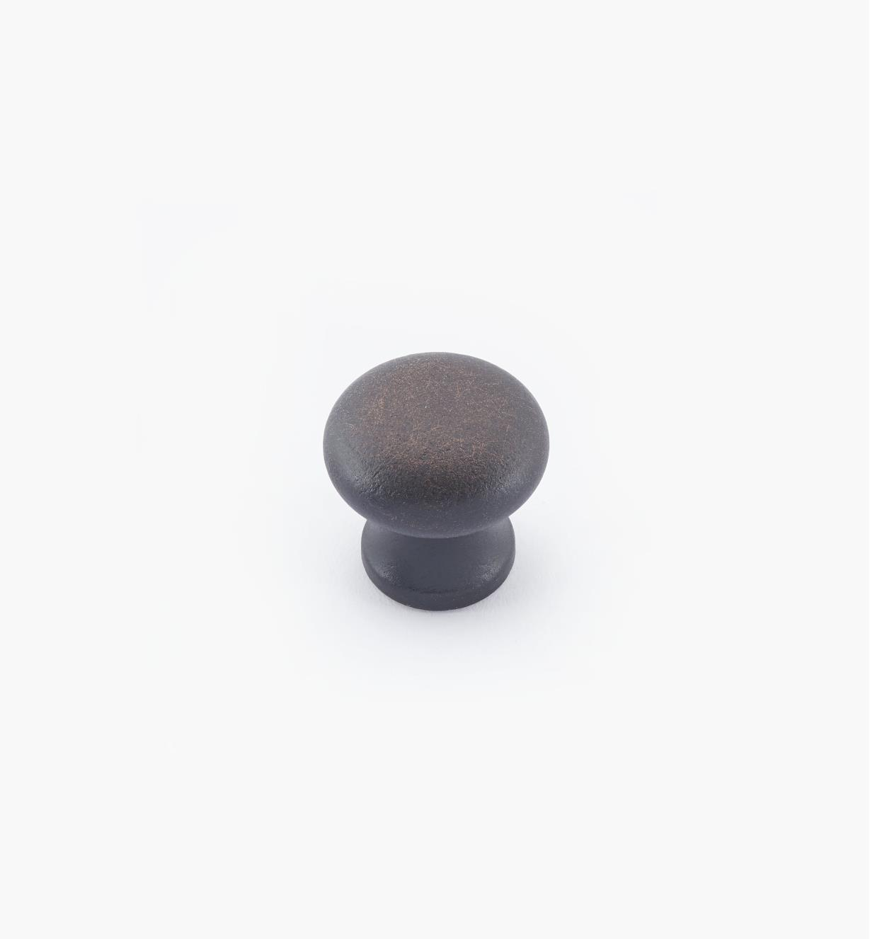 "02W2748 - 5/8"" × 5/8"" Round Brass Knob, Weathered Bronze"