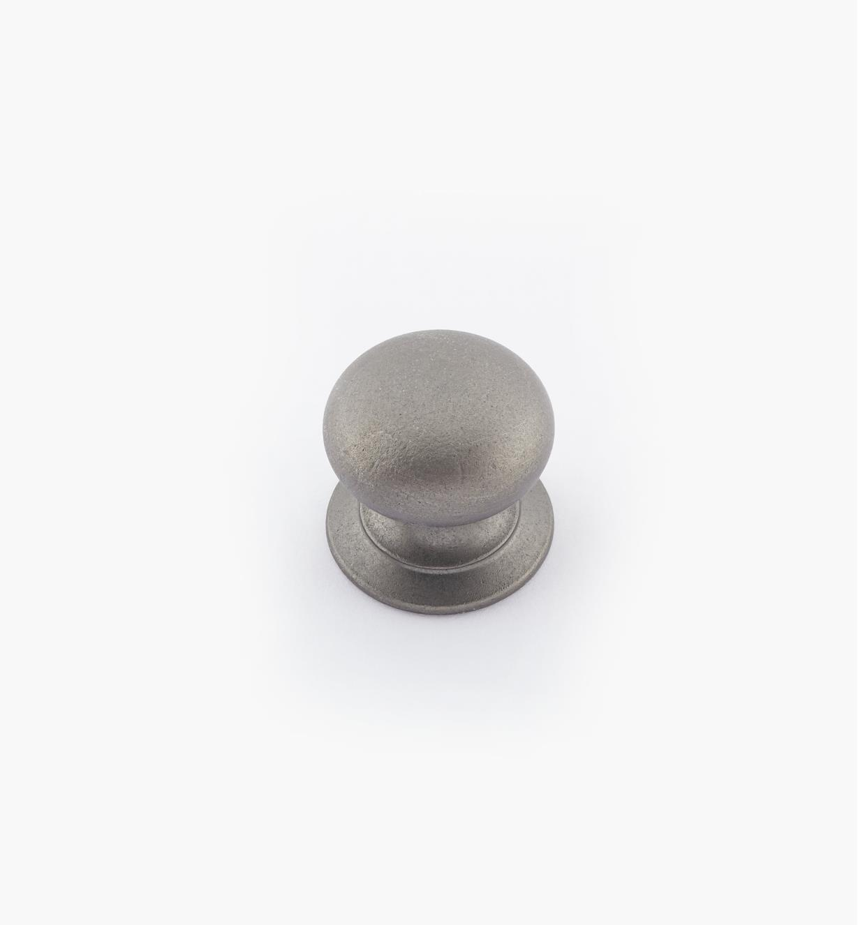 "02W2766 - 5/8"" × 5/8"" Round Brass Knob, Pewter"