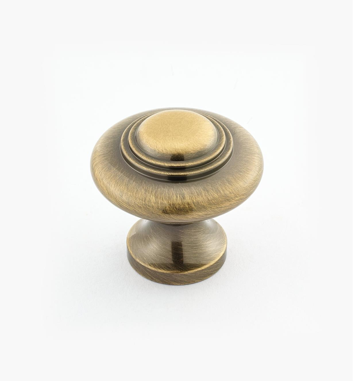 "02W3033 - 1 5/16"" x 1 1/4"" Cast Brass Ring Knob, Antique Brass"