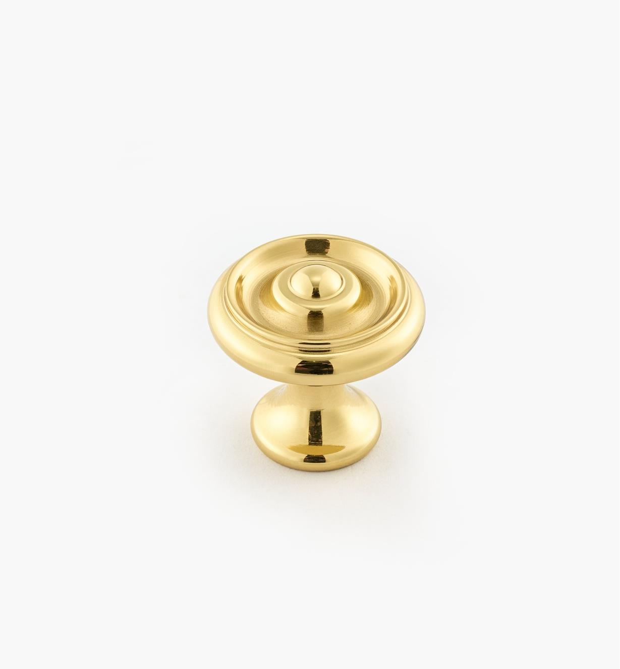 "02W3200 - Polished Brass Suite - 1"" x 7/8"" Turned Brass Raised Knob"