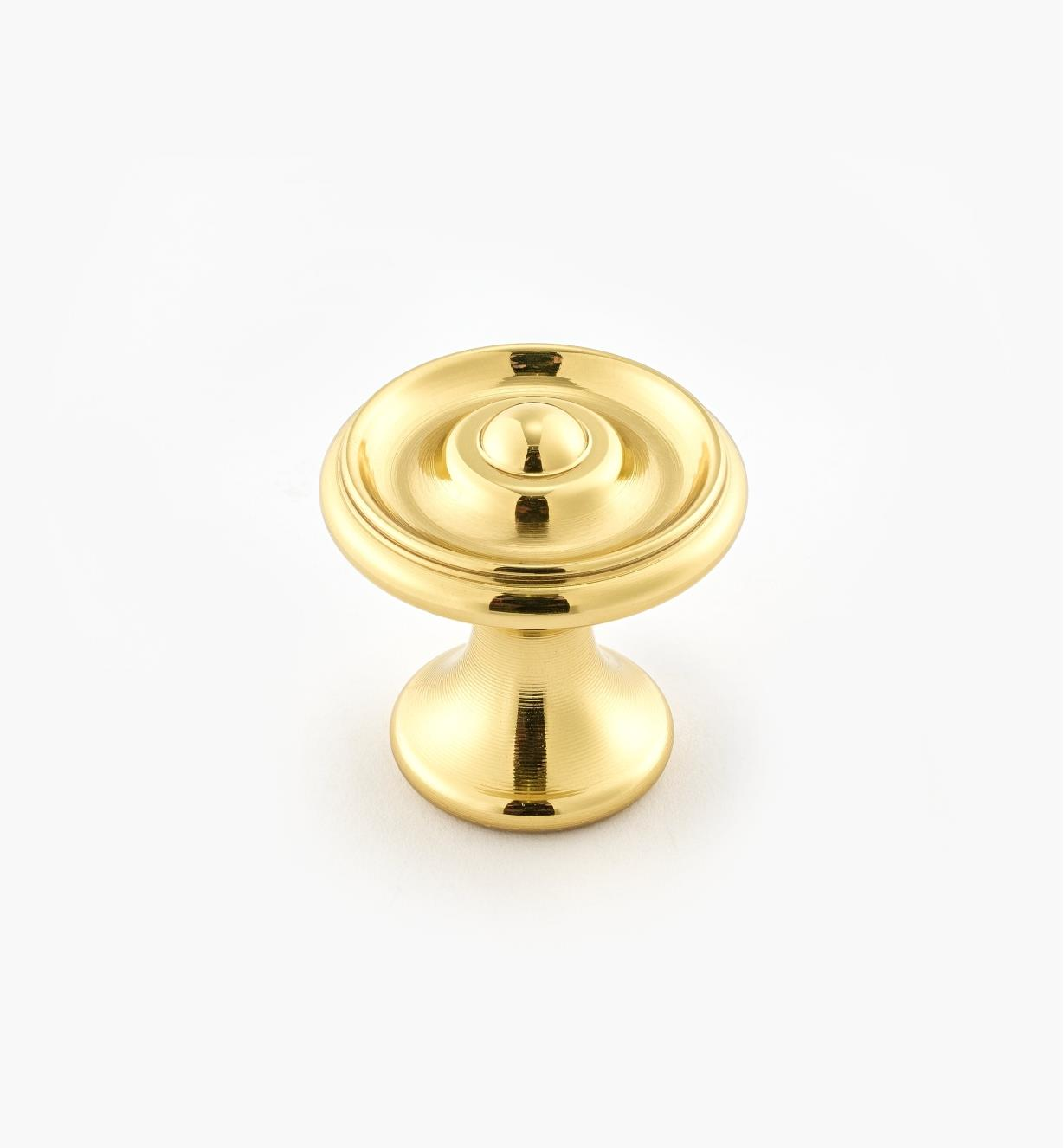 "02W3201 - Polished Brass Suite - 1 1/8"" x 1 1/8"" Turned Brass Raised Knob"