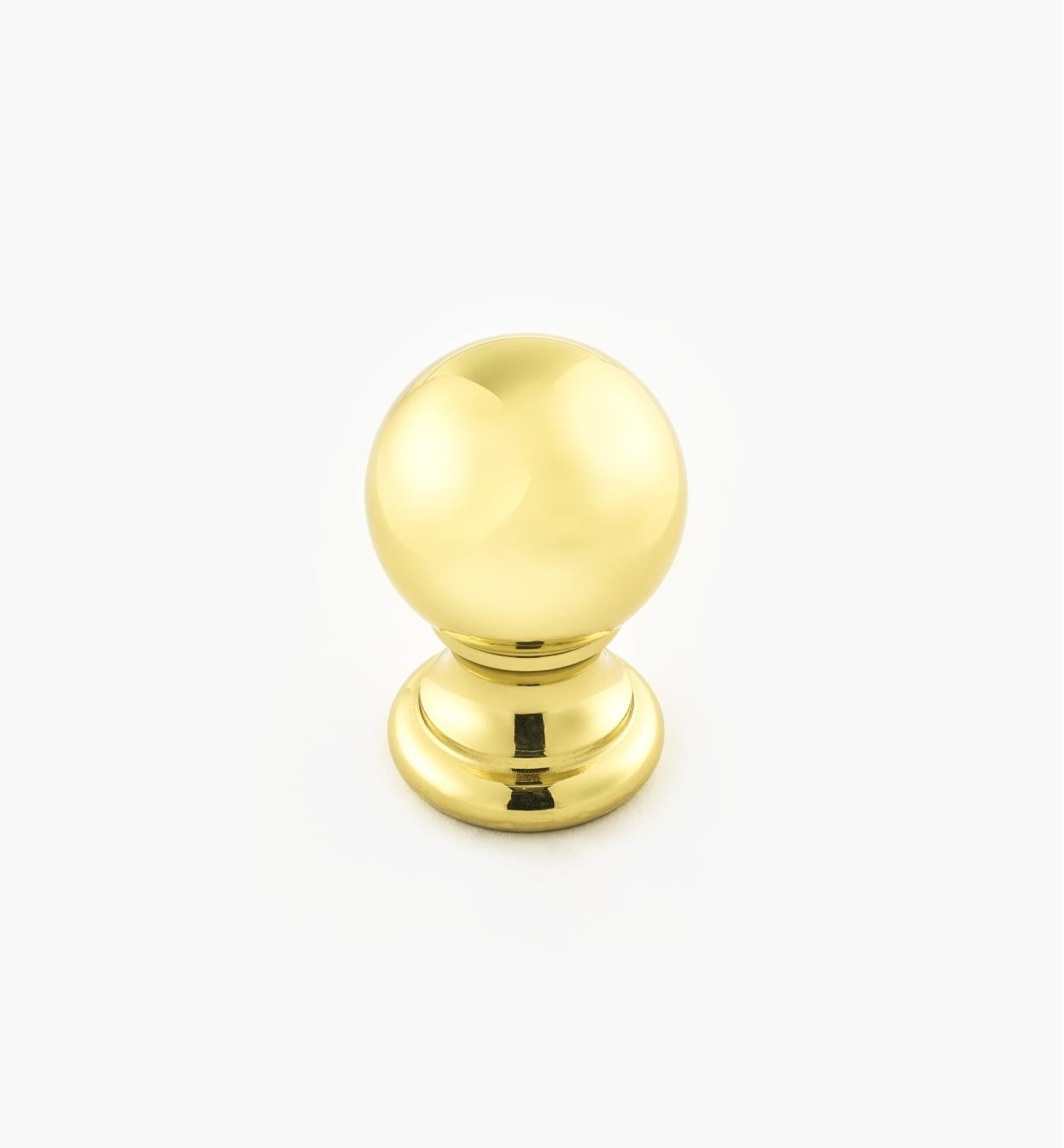 "02W3203 - Polished Brass Suite - 7/8"" x 1 1/4"" Turned Brass Ball Knob"