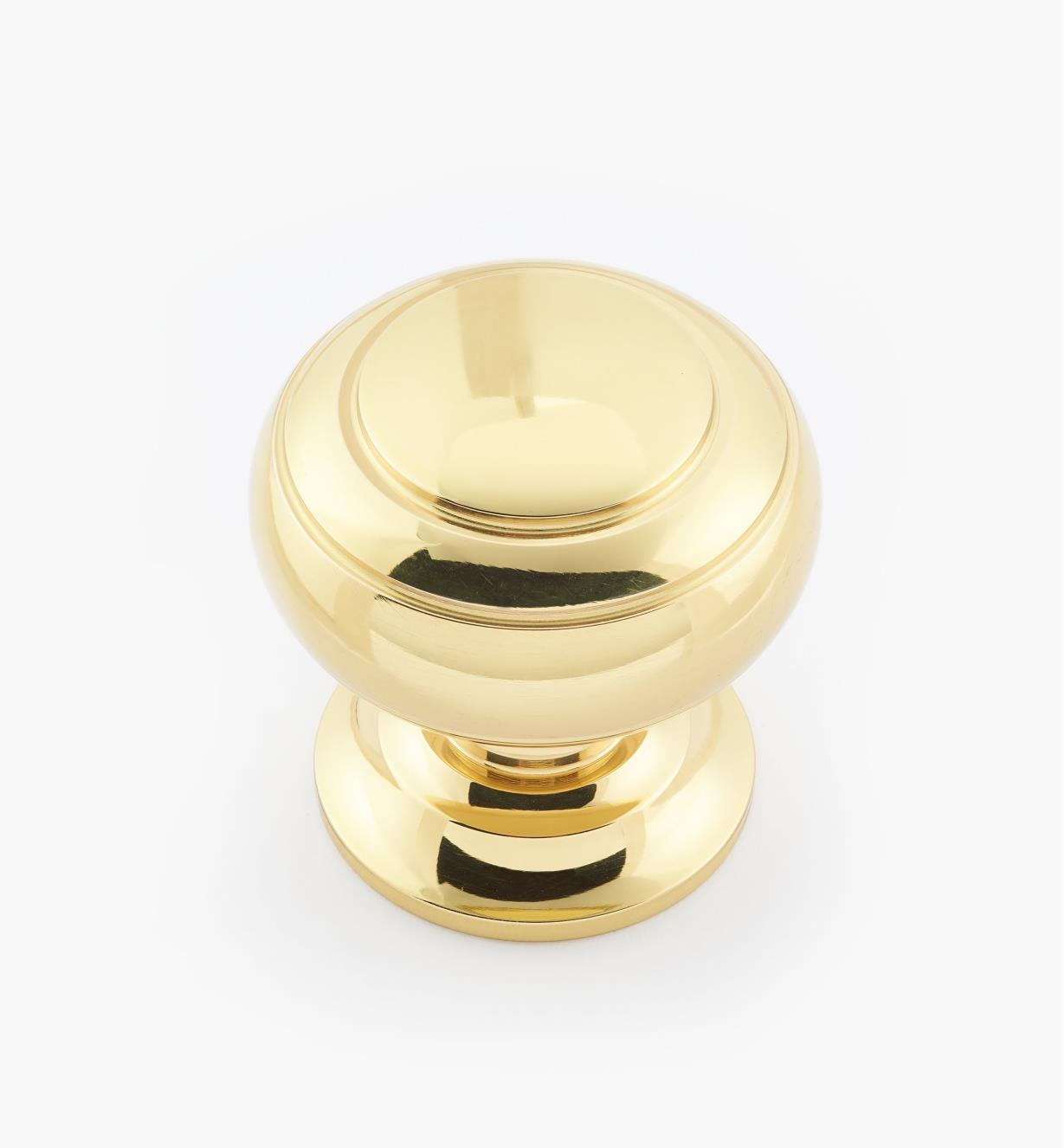 "02W3207 - Polished Brass Suite - 1 1/2"" x 1 1/2"" Turned Brass Ring Knob"