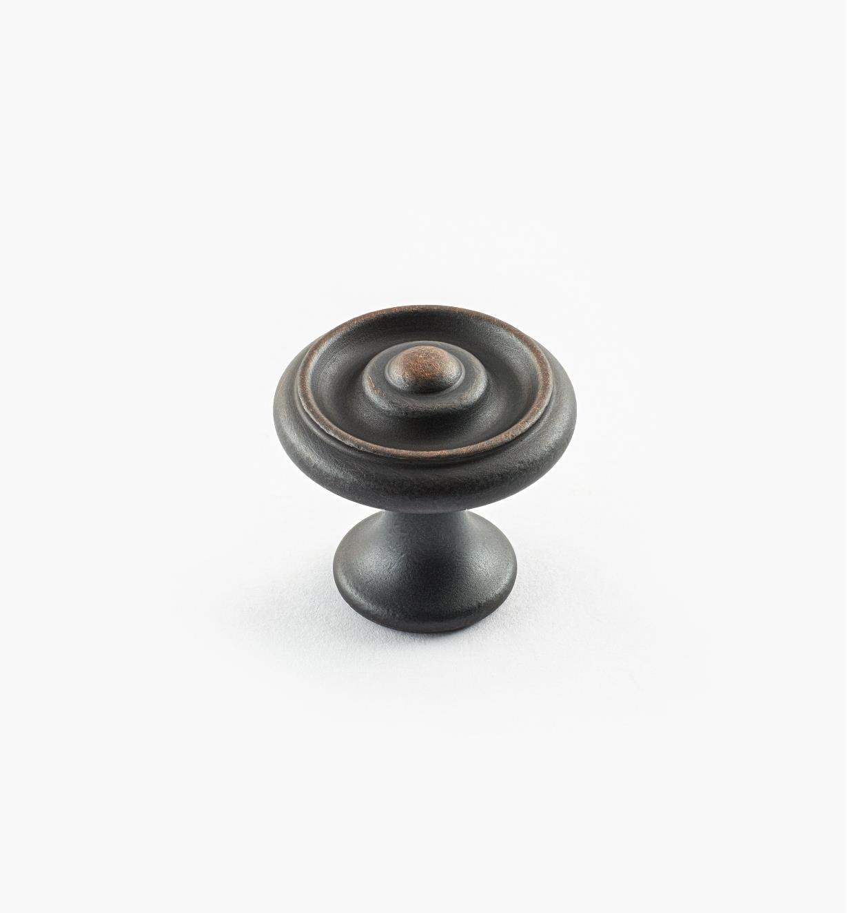 02W3260 - Bouton à bosselure centrale de 1pox 7/8po, série Vieux Bronze, laiton tourné