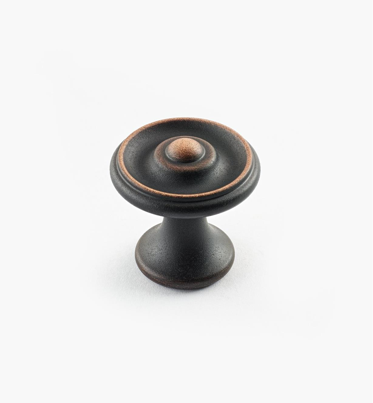 "02W3261 - Weathered Bronze Suite - 1 1/8"" x 1 1/8"" Turned Brass Raised Knob"