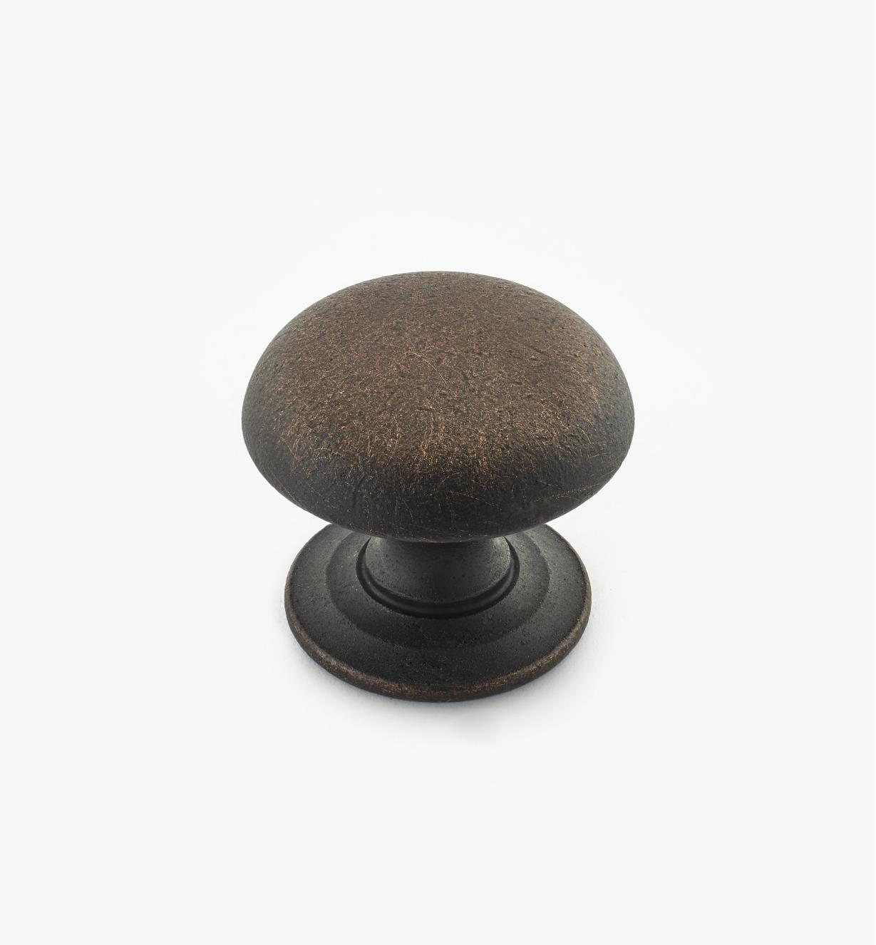 "02W3268 - Weathered Bronze Suite - 1 1/4"" x 1 1/16"" Turned Brass Dome Knob"