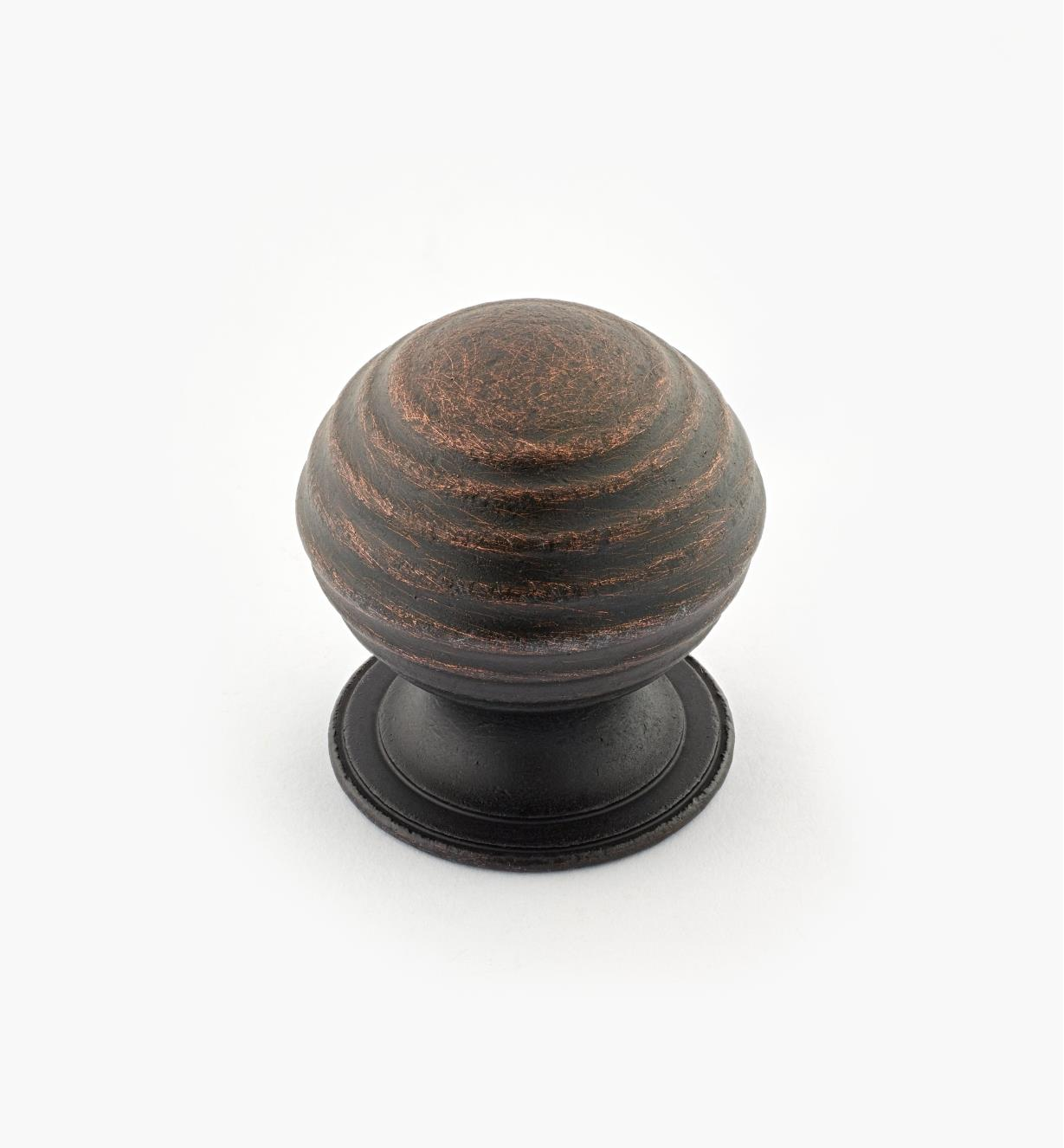 "02W3275 - Weathered Bronze Suite - 1 1/4"" x 1 1/4"" Turned Brass Ridged Knob"