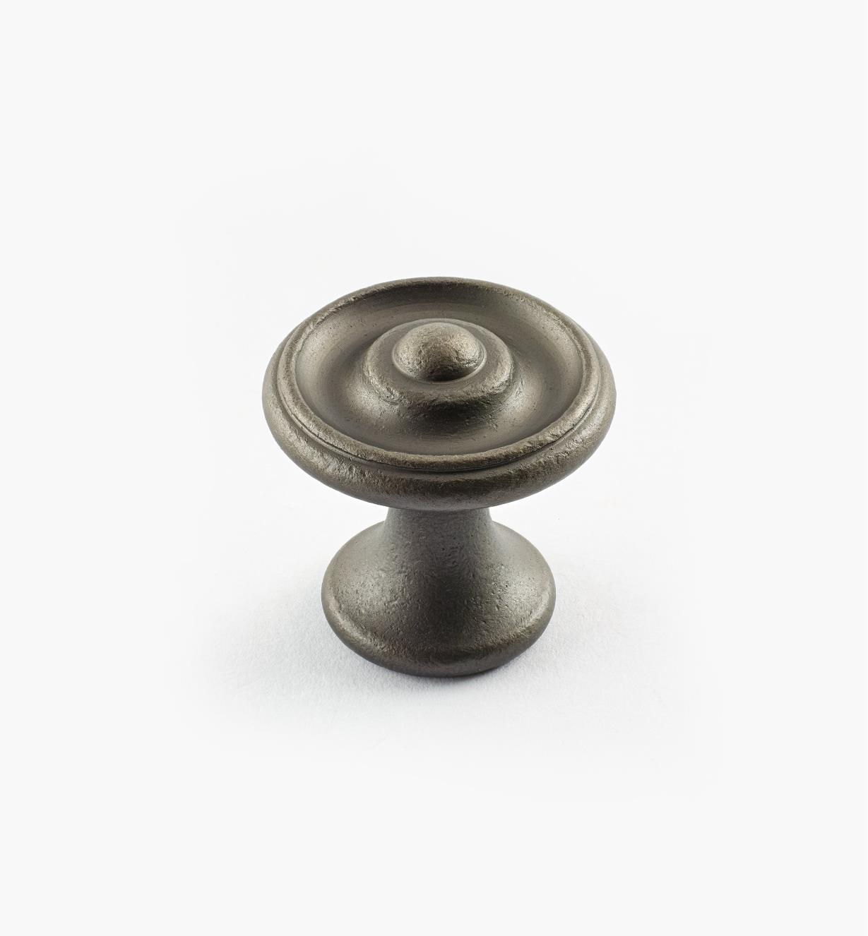 "02W3321 - Pewter Suite - 1 1/8"" x 1 1/8"" Turned Brass Raised Knob"