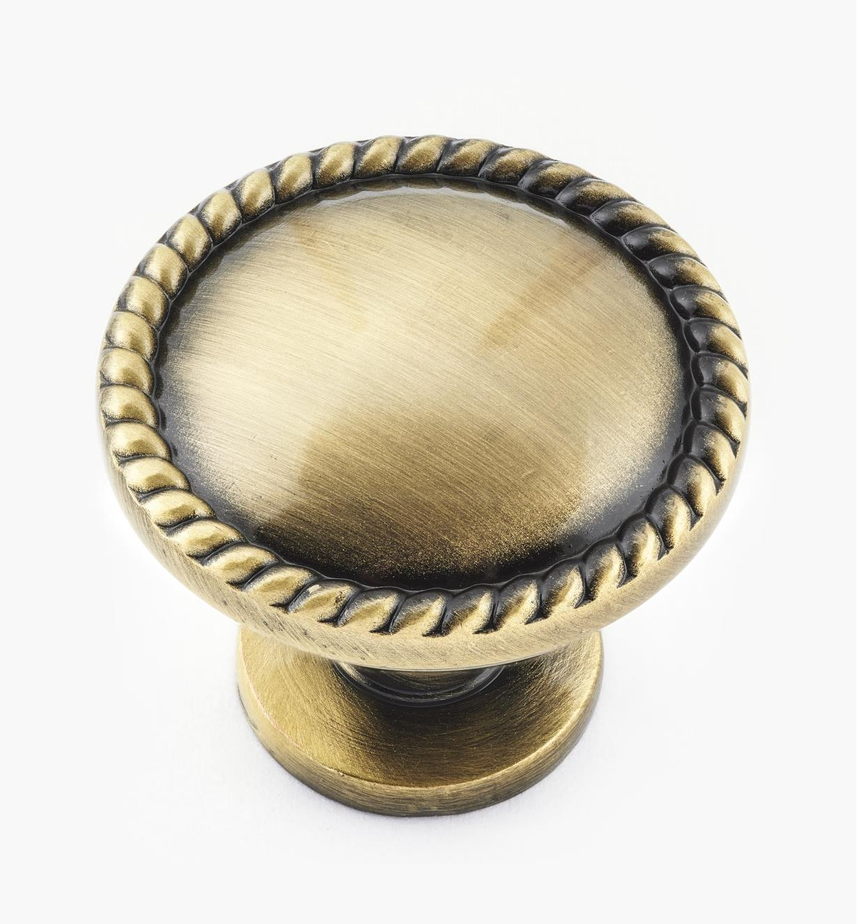 02W4160 - Rope-Edge Round Knob, Antique Brass