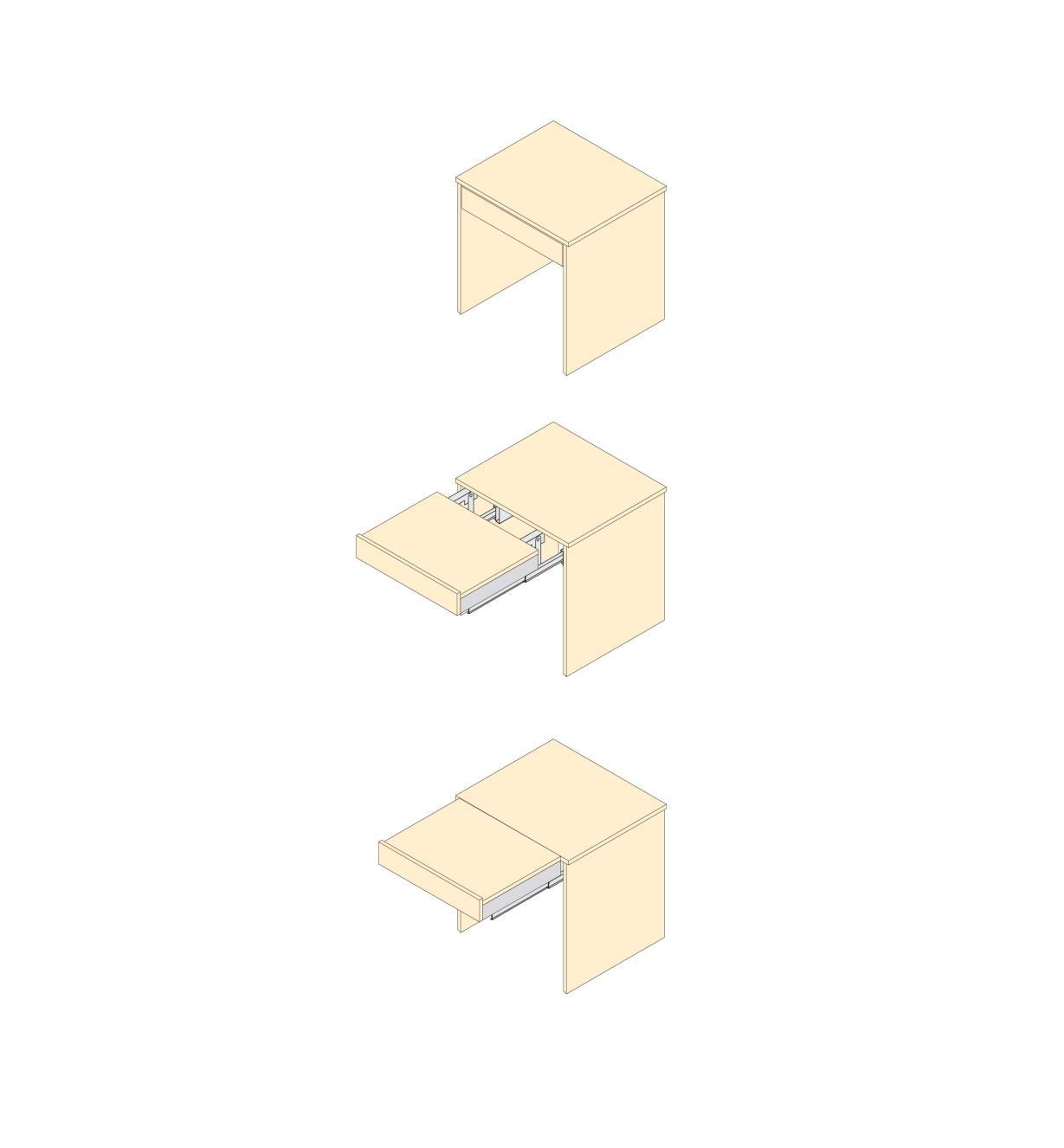 12K1640 - Coulisses pour rallonge de surface de travail, la paire