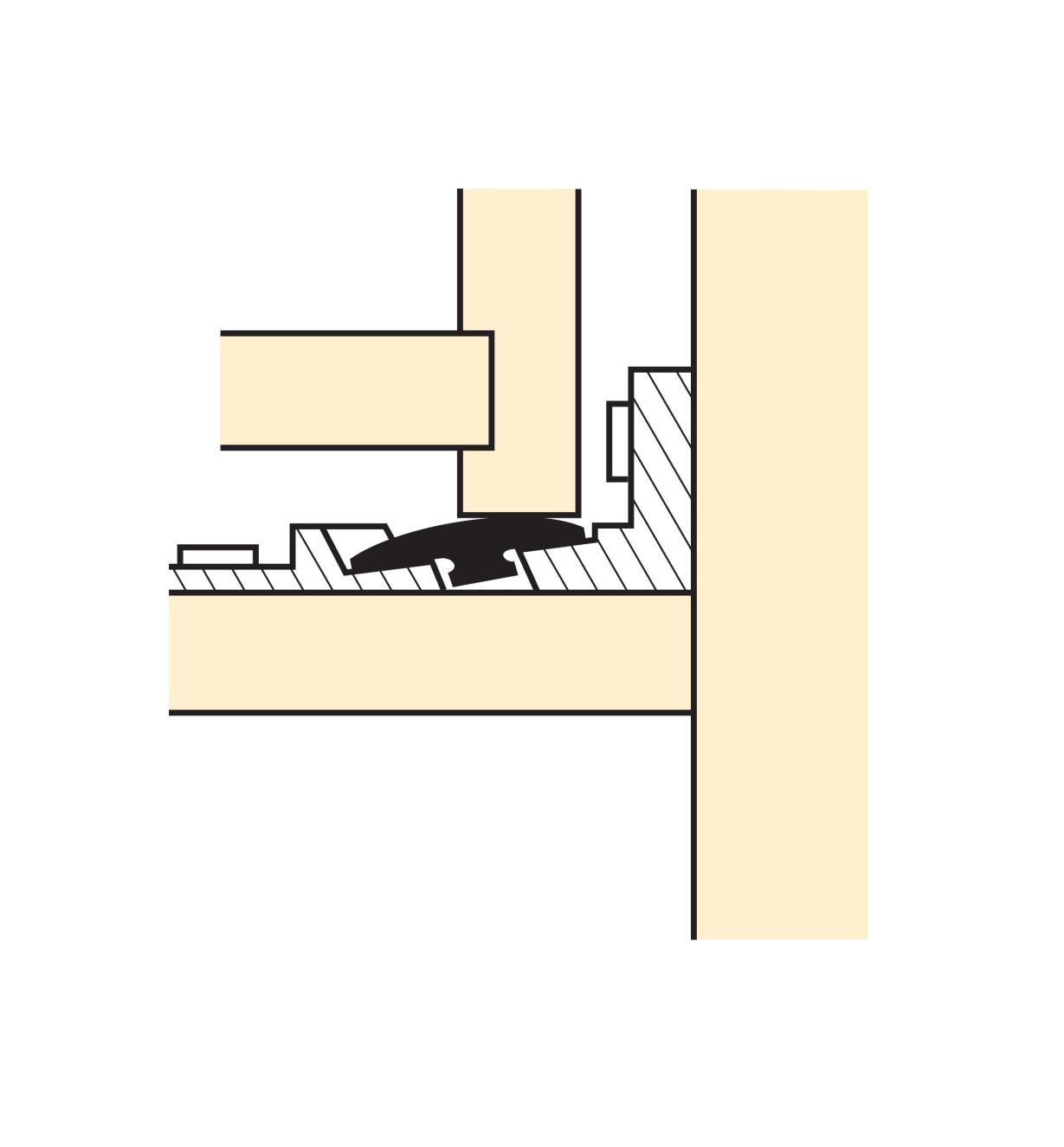 Illustration of disc roller installed under the corner of a drawer