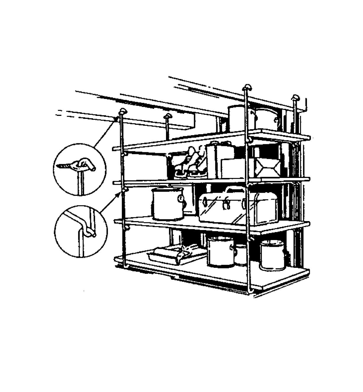 Illustrated example of of four shelves supported by four pairs of shelf hangers hooked together