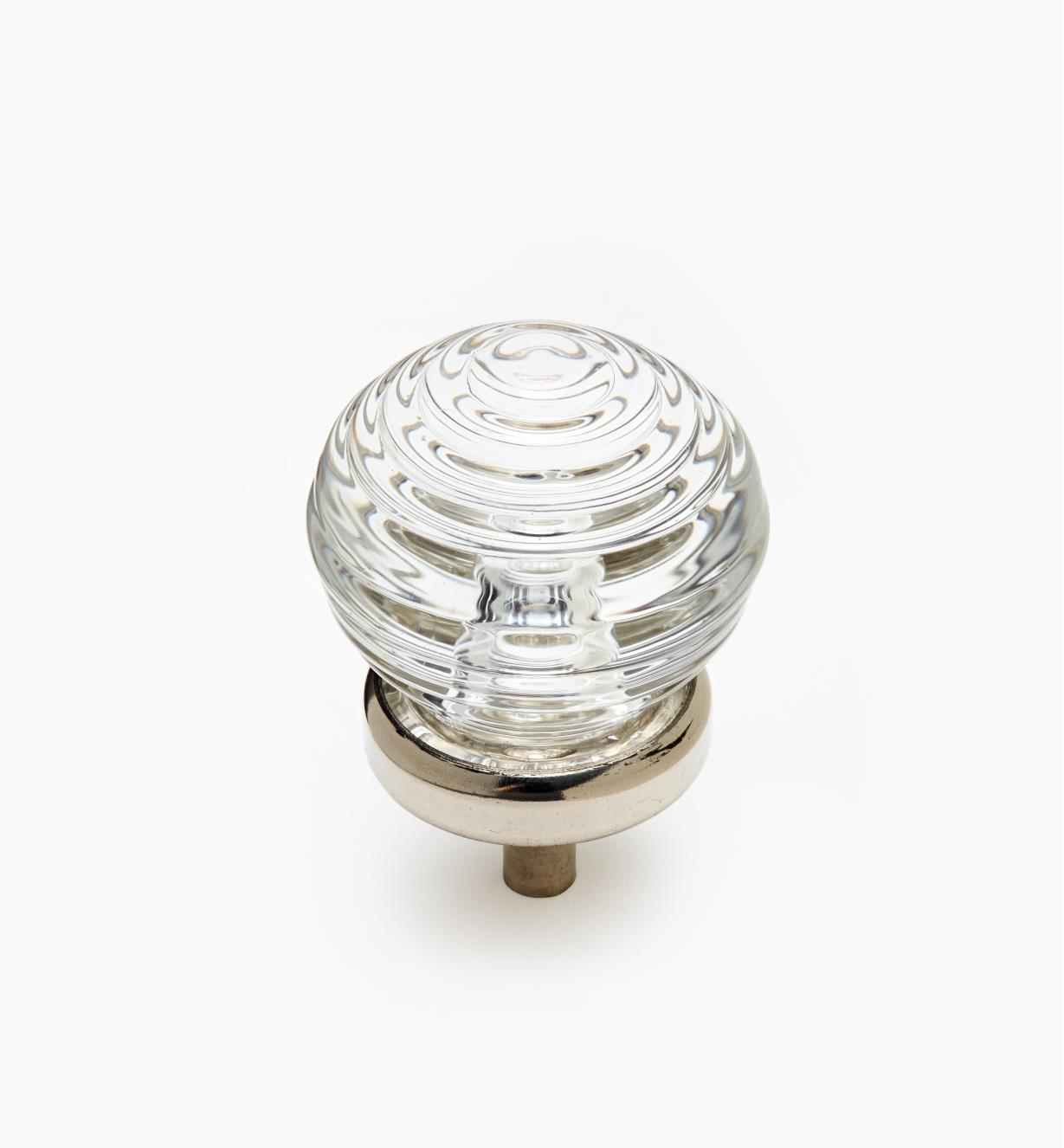 01A3840 - Glass Ringed Ball Knob, Nickel Plate base