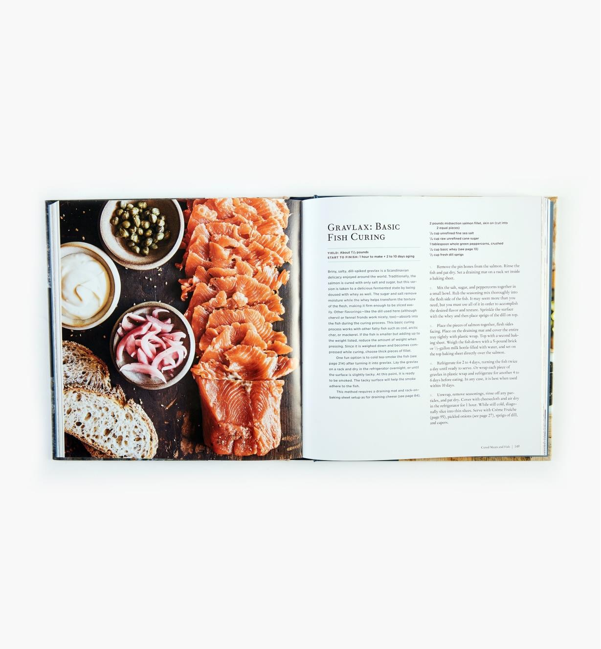 Open book showing recipe for pickled sardines with fennel