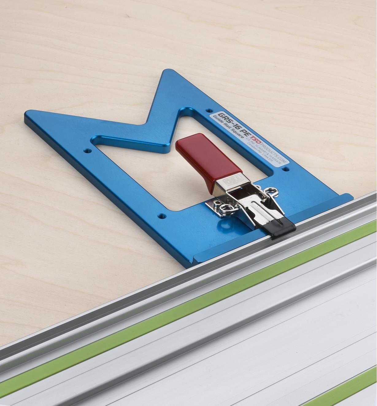 A view of the GRS-16 PE guide rail square showing the draw clamp used to mount it on a guide rail
