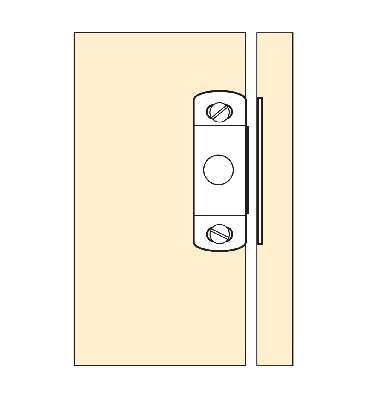 Illustration of Brass Magnetic Catch mounted on a cabinet door