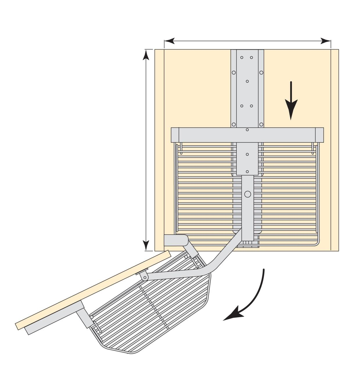 Top-view diagram of installed larger unit, with the cupboard door opening and the rear shelves sliding forward