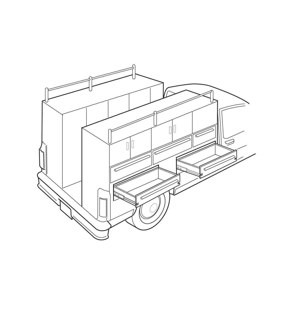 Illustration of slides used for storage in a truck bed