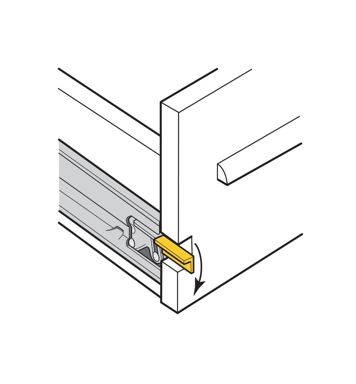 Illustration of release lever on a slide installed in a drawer