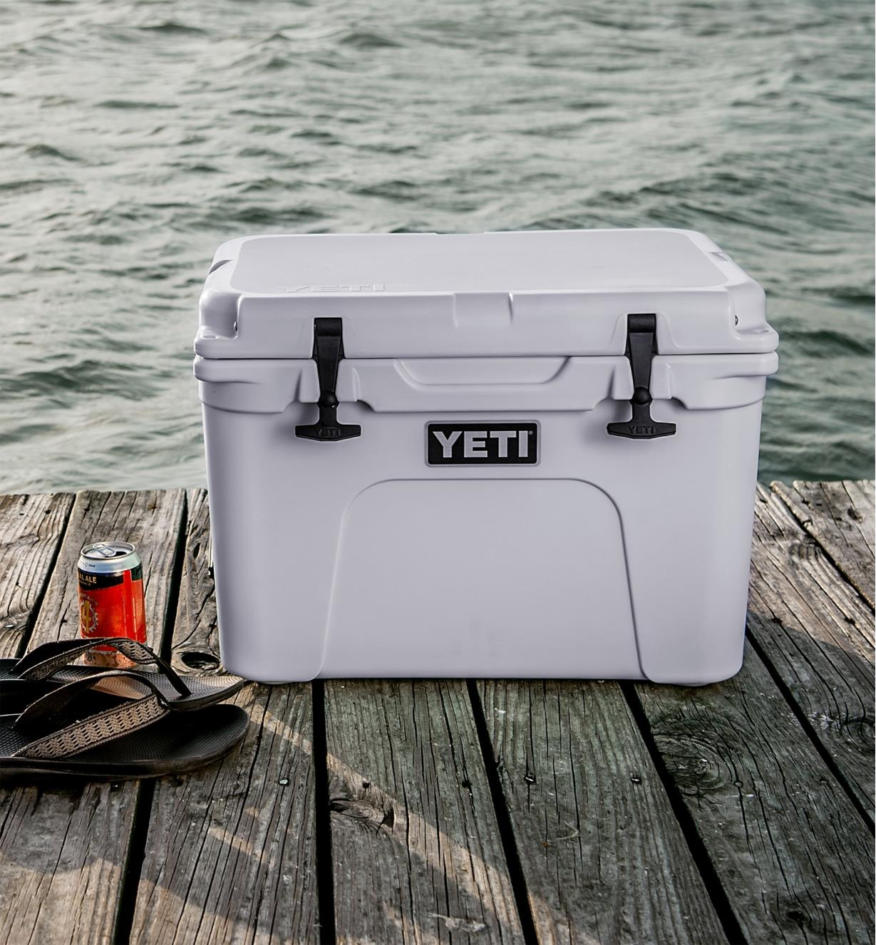 Yeti Tundra Hard-Sided 35 Cooler place on a dock