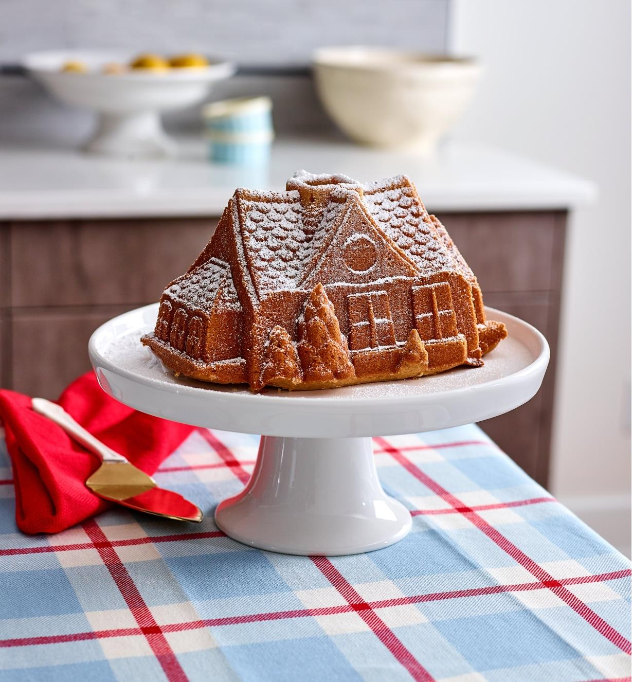 A gingerbread house cake dusted with powdered sugar