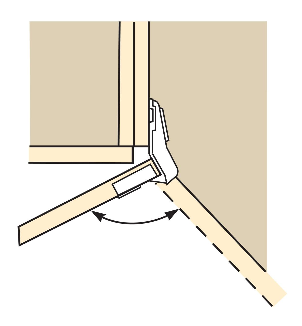Le diagramme montre une charnière s'ouvrant sur 110°