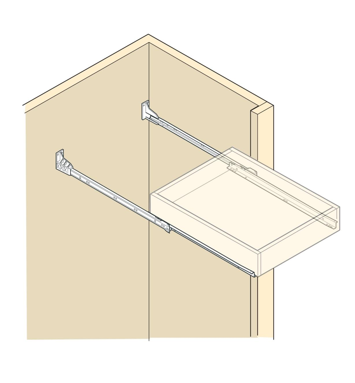 Illustration of a drawer mounted in a cabinet using rear sockets