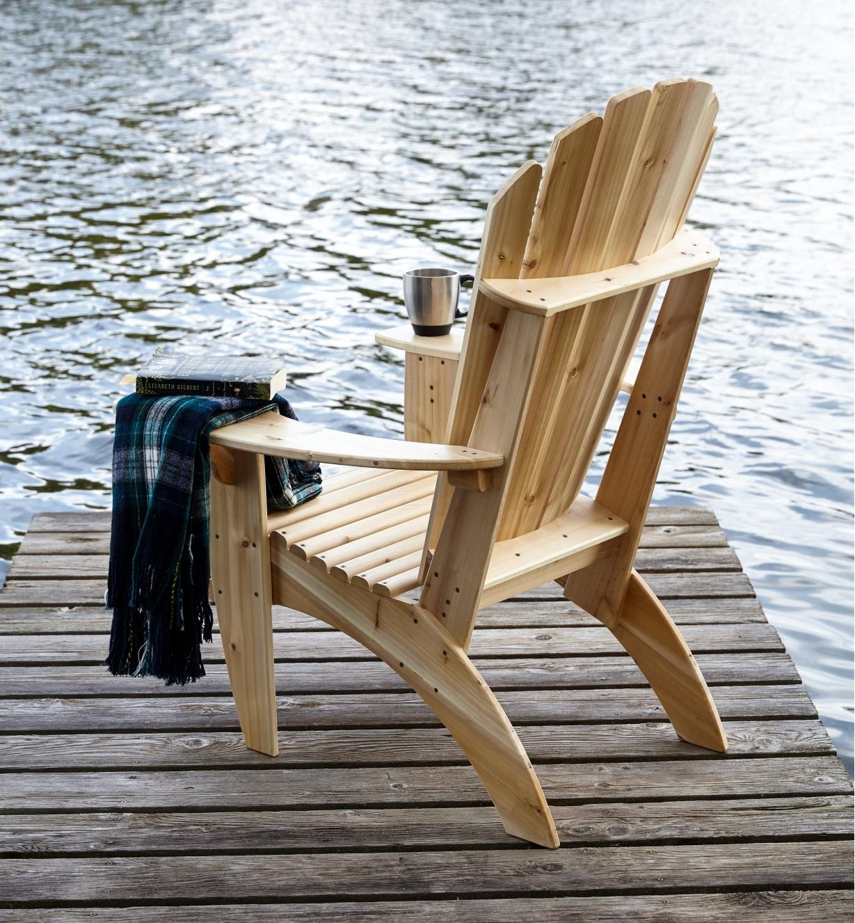 Back view of completed Kitchisippi Chair sitting on a dock