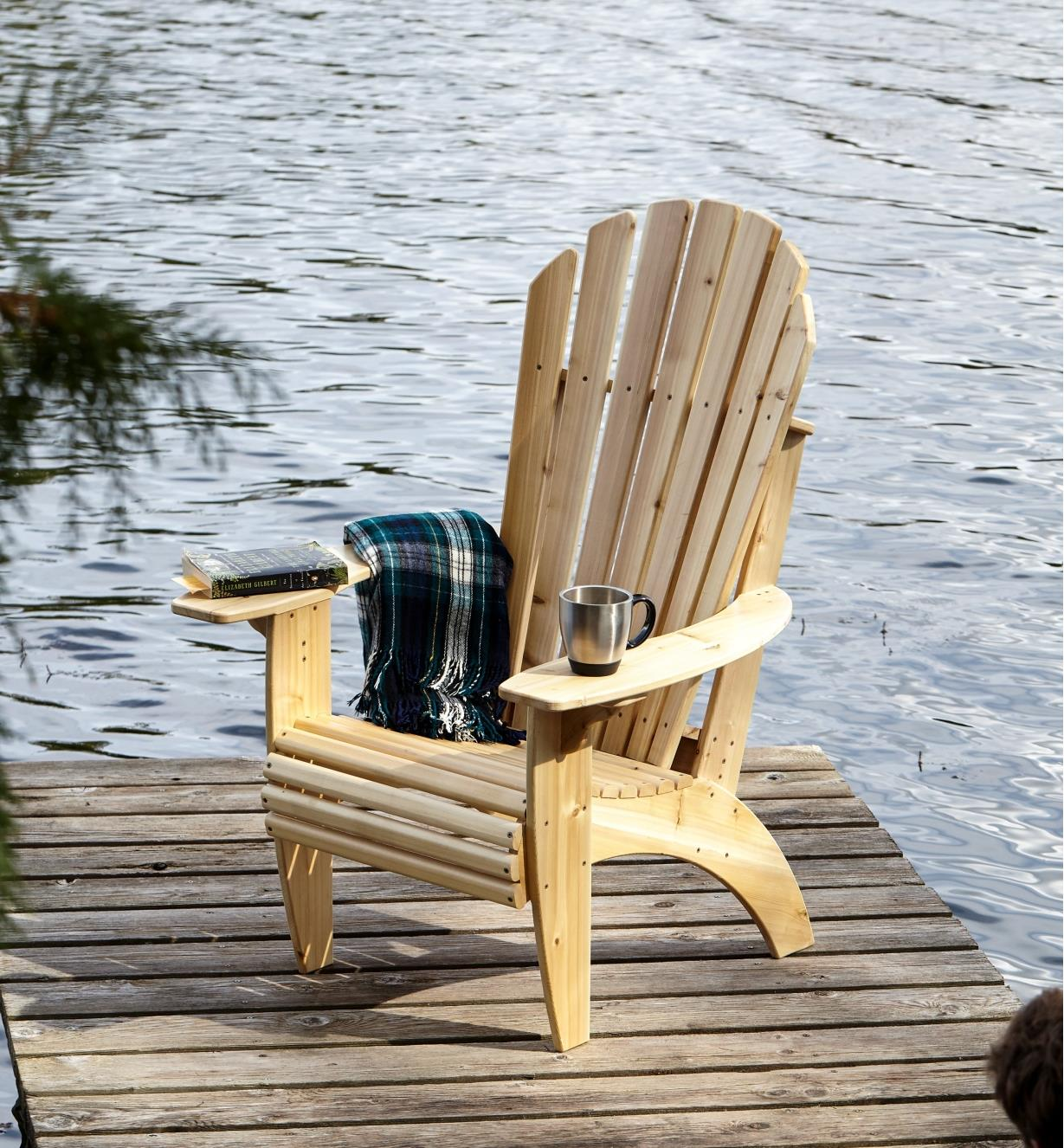 Front view of completed Kitchisippi Chair sitting on a dock