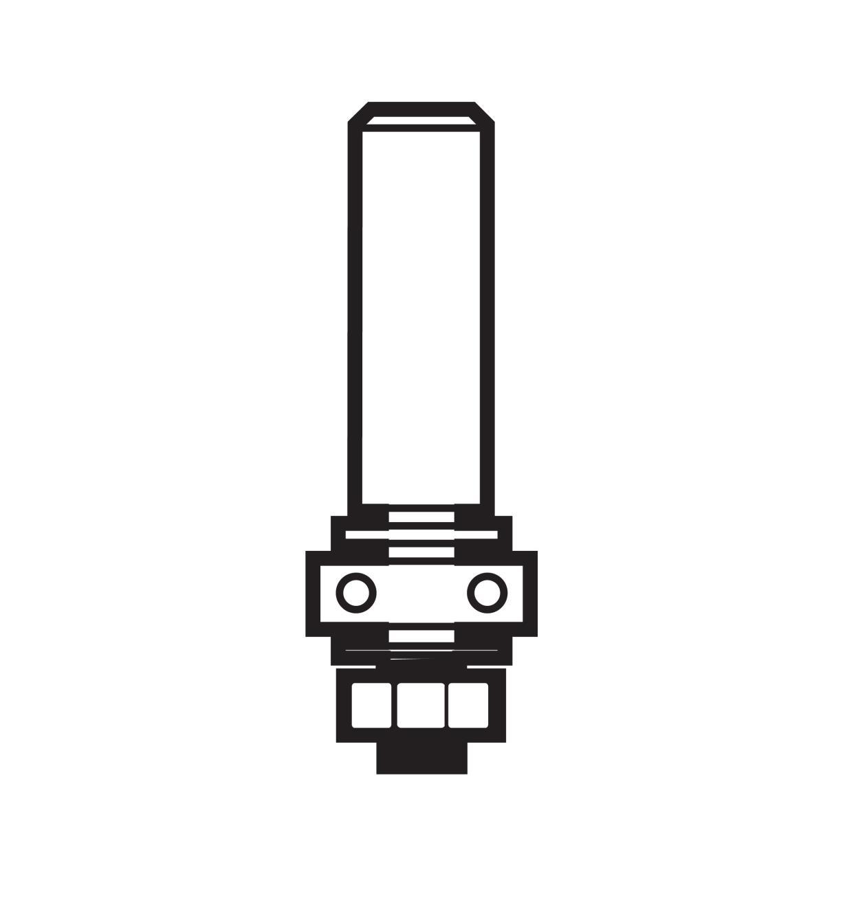 16J8001 - Arbre pour couteau à rainurer, 1/4po