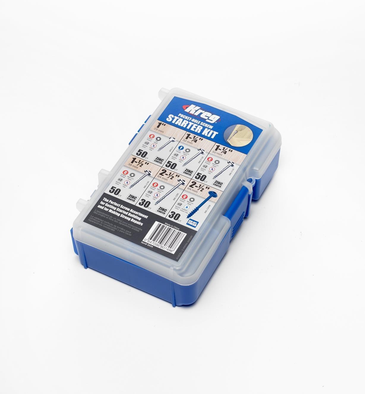 25K6058 - Kreg Pocket-Hole Screw Starter Kit, 260 pcs