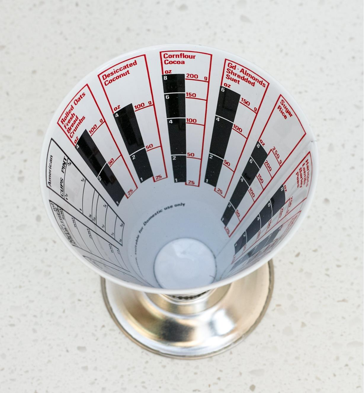 Top view of the inside of the Dry-Weight Measuring Cup, English