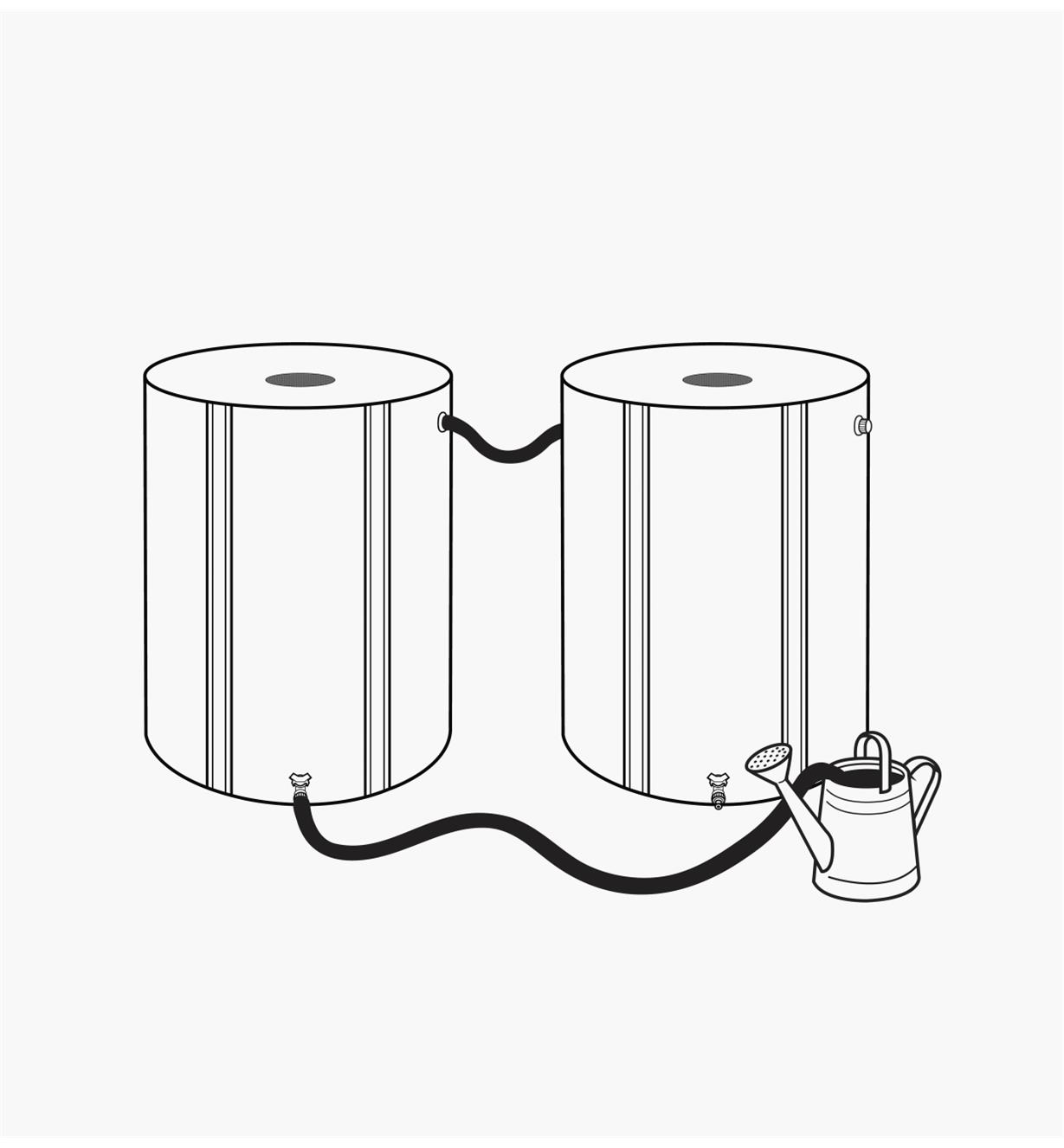 Illustration of two rain barrels connected by a leader hose