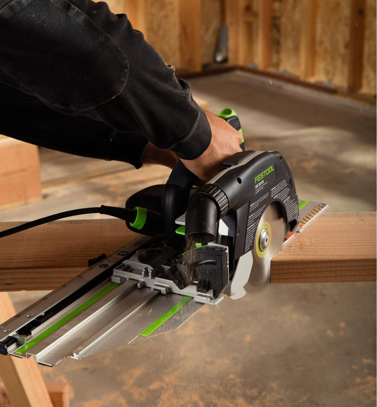 Cutting a miter across a board using the HK 55 EQ Circular Saw Set