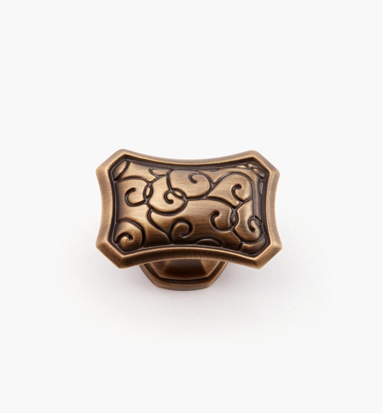 02A5212 - Bouton rectangulaire de 13/4pox 11/4po, série Bella Forma, fini bronze bruni