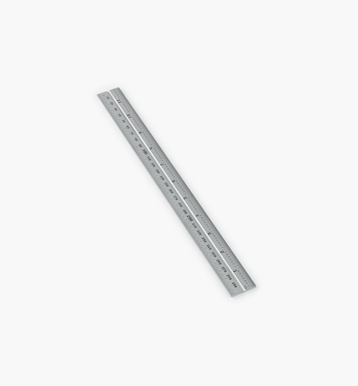 30N3150 - Règle 11 3/4 po–300 mm, fini chrome pour têtes d'équerre de 12 po et 300 mm, rapporteur d'angle et tête de centrage Starrett