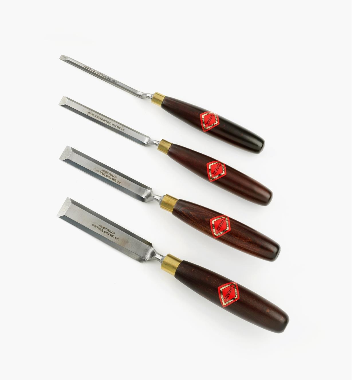 58S0810 - Set (4) Cranked-Neck Paring Chisels