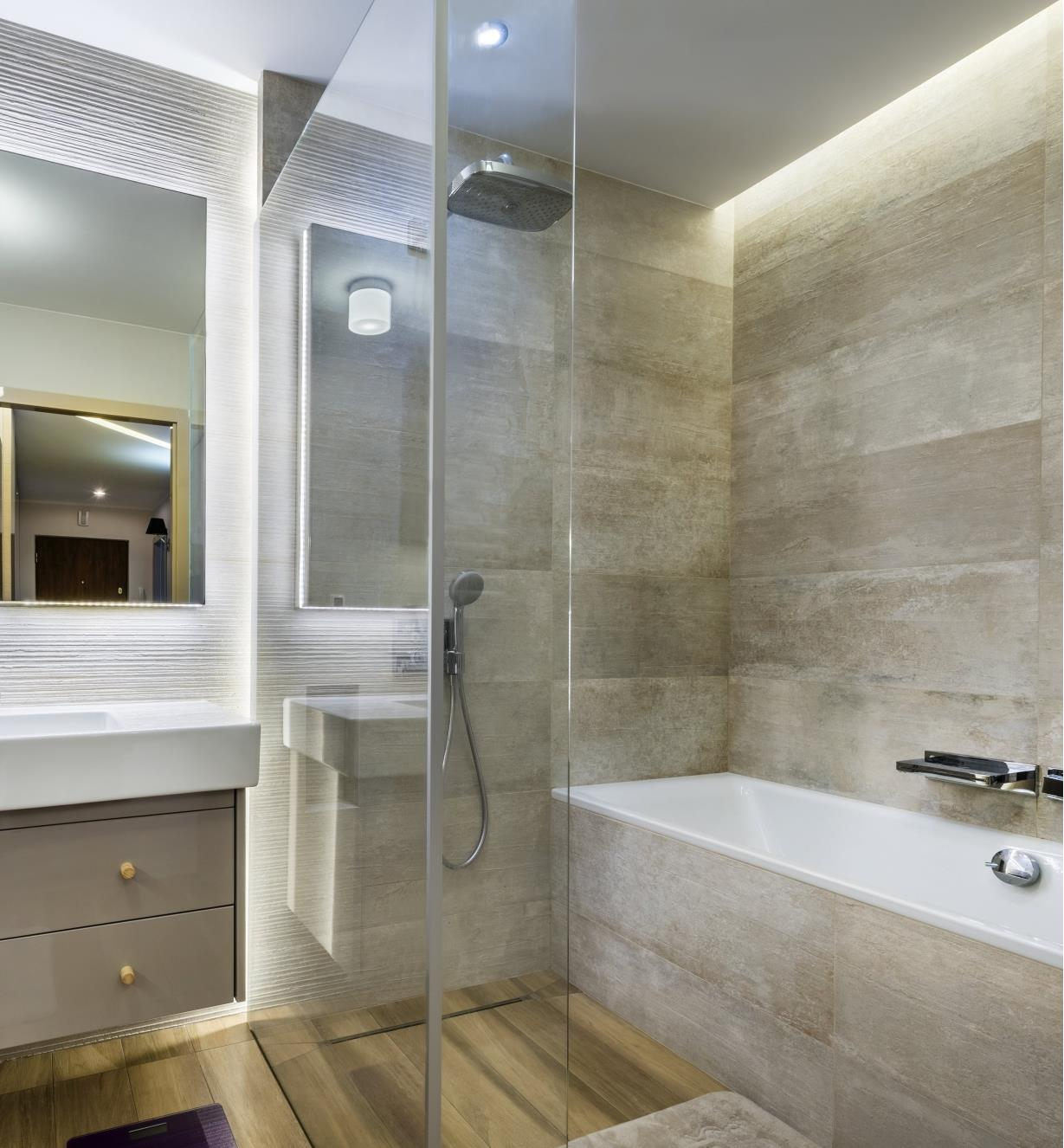 Example of LED lights installed in a bathroom