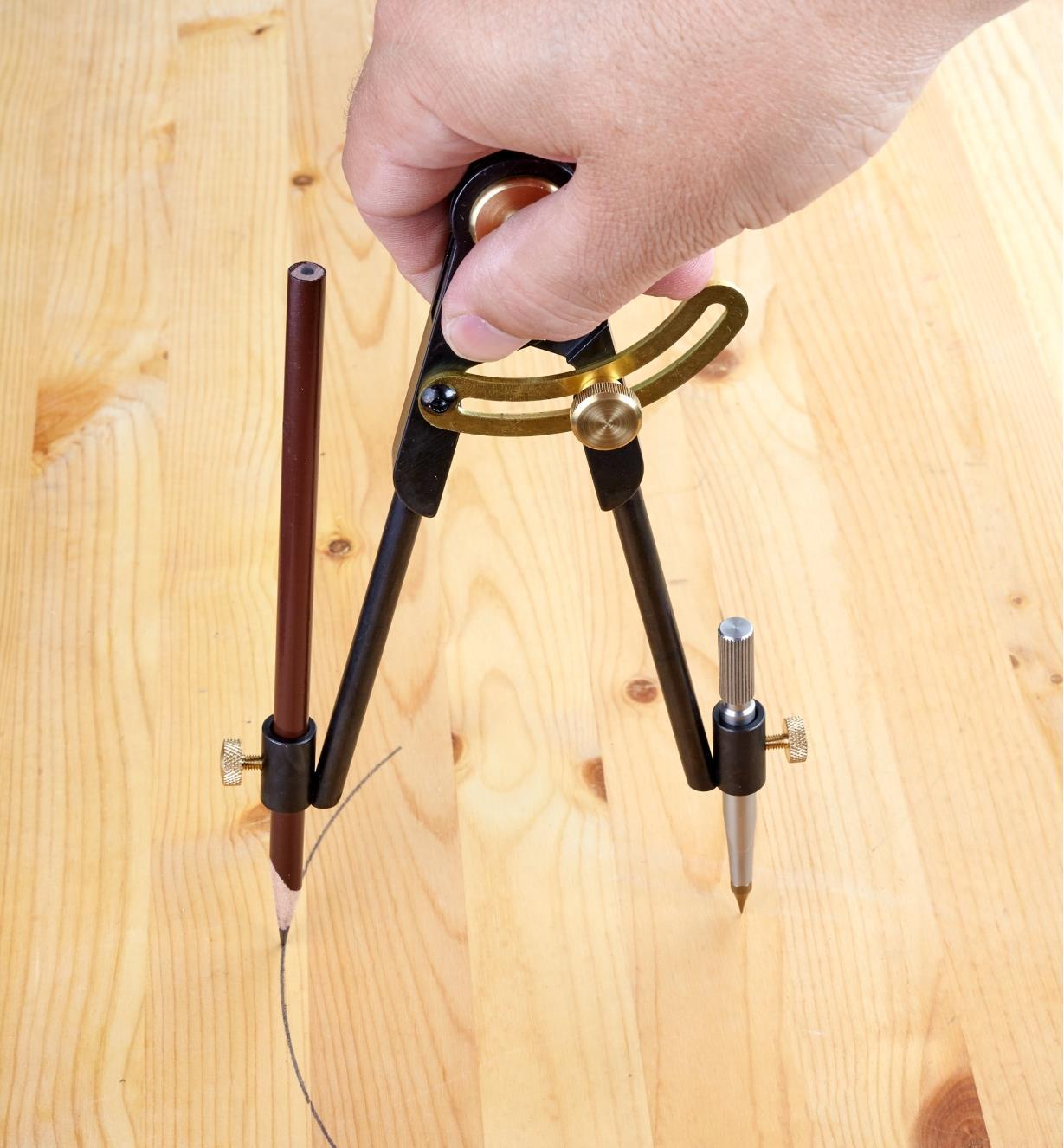 Scribing a circle onto a wooden surface using a bench compass