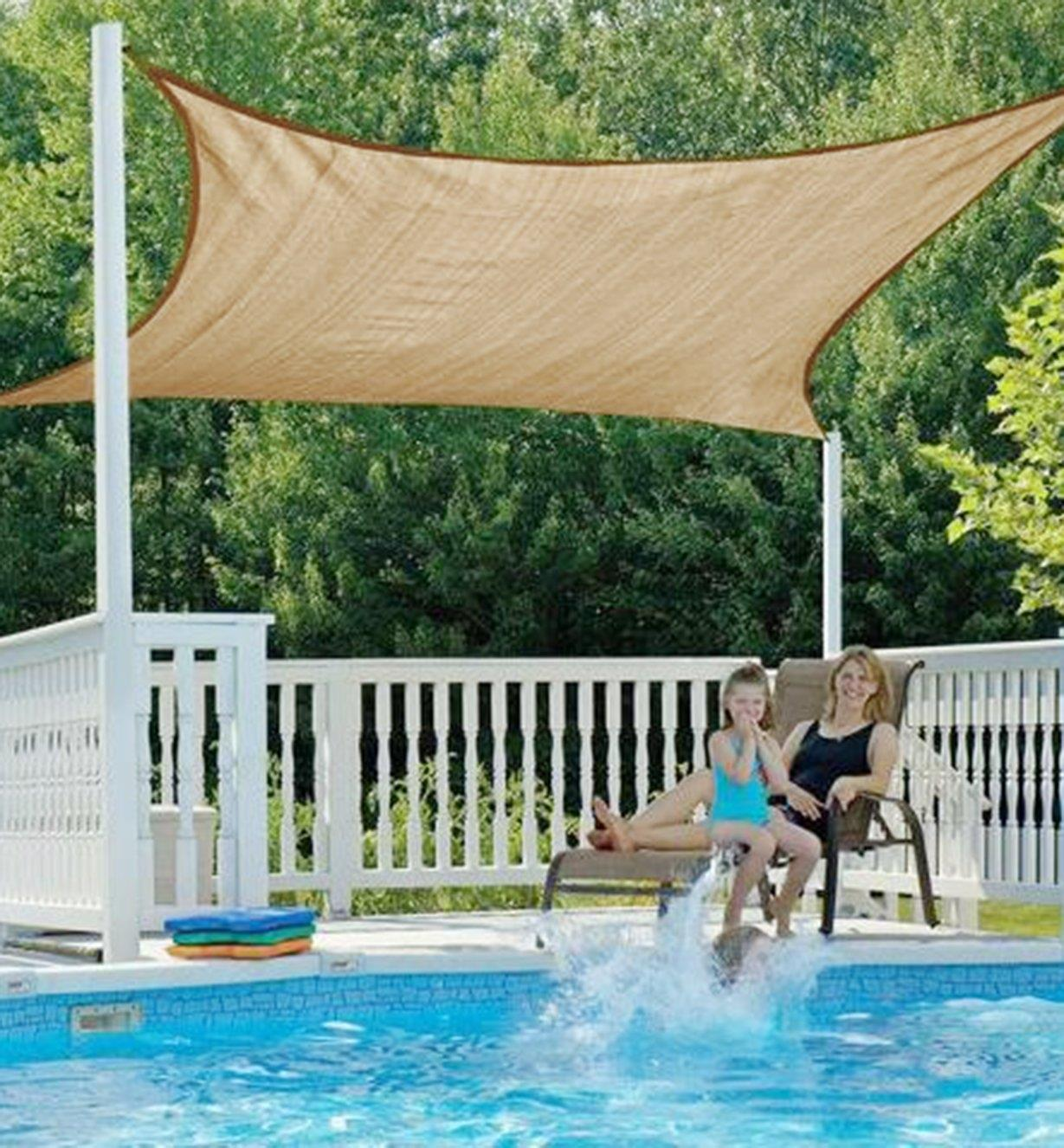 Square Shade Sail installed over a swimming pool