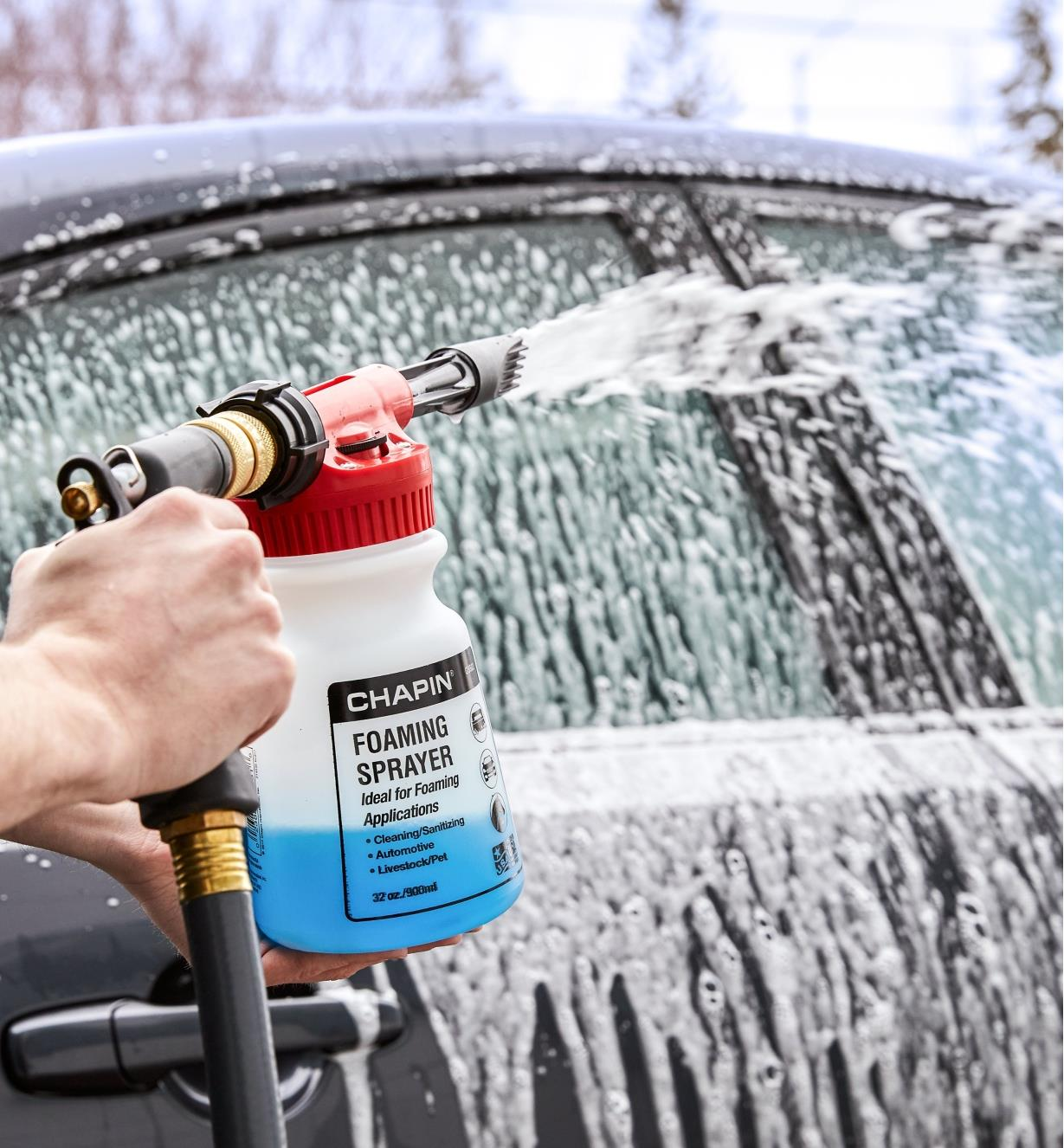 Chapin foam sprayer used to spray foamy cleaner on a car's doors and windows